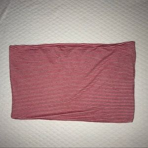 Red and white stripped tube top